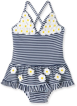 Little Me Stripe Daisy One-Piece Swimsuit