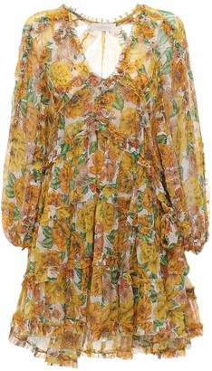 Zimmermann Poppy Frill Billow Chiffon Mini Dress