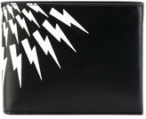 Neil Barrett lightning print wallet - men - Cotton/Leather - One Size