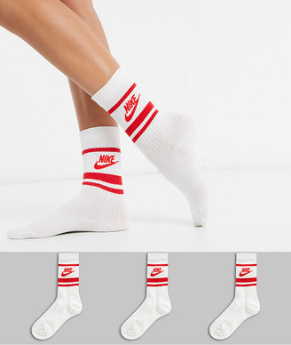 Nike 3 Pack logo stripe socks in white and red