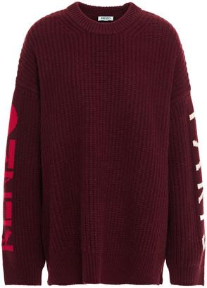 Kenzo Ribbed Wool-blend Jacquard Sweater