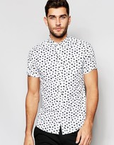 Asos Skinny Shirt In White With Triangle Print In Short Sleeve