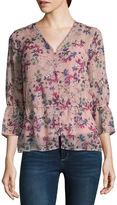 Liz Claiborne 3/4 Sleeve Woven Floral Blouse-Talls