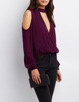 Charlotte Russe Choker Neck Cold Shoulder Top
