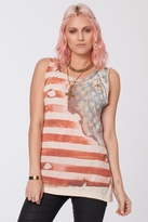 Chaser LA Vintage Flag Deconstructed Muscle Tank in Cream