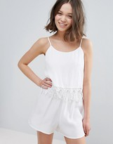 Glamorous Romper With Frill Overlay
