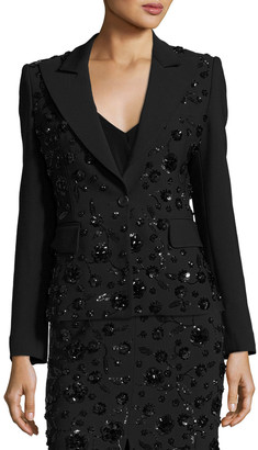 Michael Kors Sequined-Floral Dinner Jacket, Black