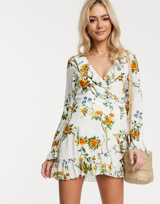 Raga Buttercup Fields floral print wrap dress-White