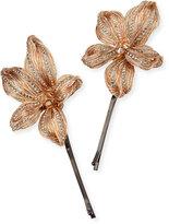 Colette Malouf Mesh Botanical Bobby Pins, Set of 2