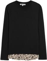 Mcq Alexander Mcqueen Black Leopard-print Shirt-hem Top