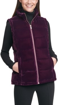Calvin Klein Velvet Mock-Neck Zip-Up Vest