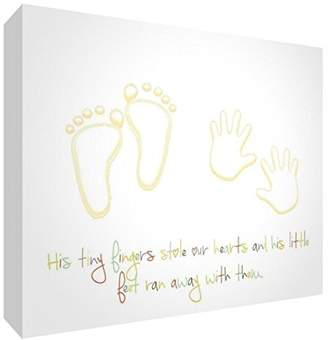 Camilla And Marc Feel Good Art Gallery Wrapped Nursery Canvas in Modern Design (20 x 30 x 3 cm, Small, Multicoloured, His Little Feet Stole Our Hearts)