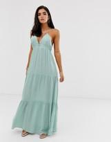 Asos Design DESIGN twist back beach maxi dress in mint