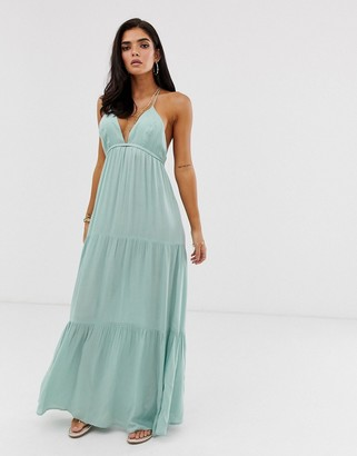 Asos DESIGN twist back beach maxi dress in mint