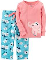 Carter's Toddler Girl Embroidered Animal Applique Top & Microfleece Bottoms Pajama Set