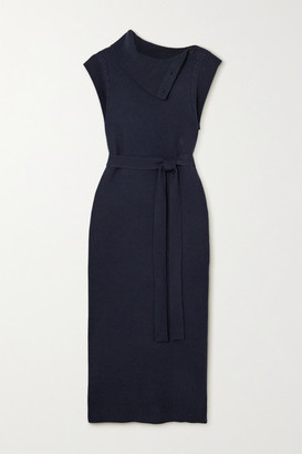 Chloé Belted Button-detailed Wool And Cashmere-blend Midi Dress - Navy