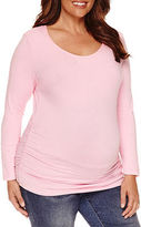 Asstd National Brand Long Sleeve Scoop Neck T-Shirt-Womens Plus Maternity