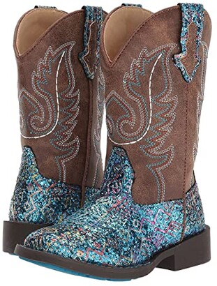 Roper Glitter Aztec (Toddler/Little Kid) (Blue Faux Glitter Vamp/Brown Shaft) Cowboy Boots