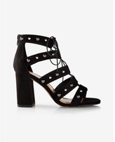 Express stud embellished lace-up heeled sandal