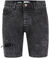 Topman Black Acid Wash Ripped Slim Denim Shorts