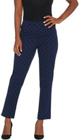 Isaac Mizrahi Live! Regular 24/7 Stretch Flocked Polka Dot Ankle Pants