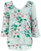 Wallis Green Floral Print Embellished Flute Sleeve Top