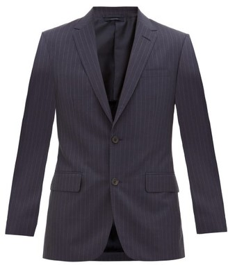 Dunhill Single-breasted Pinstriped Wool-crepe Suit Jacket - Mens - Navy