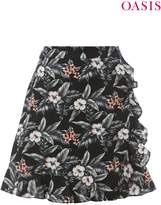 Next Womens Oasis Black Tropical Flower Linen Ruffle Mini Skirt