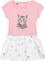 Absorba Pink Jersey Cat Print Dress with Spot Skirt