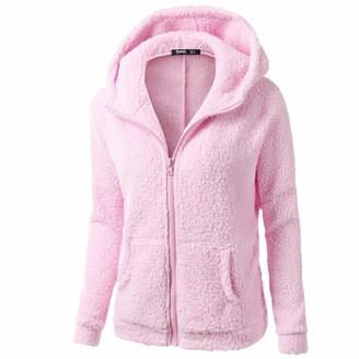 Runxinqing Women Hooded Sweater Coat Winter Warm Wool Zipper Pocket Solid Outwear Warm Soft Comfortable Overcoat Jacket Outwear Hoodies Long Sleeve Tops UK Plus Size (Dark Gray 3XL)