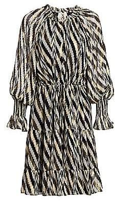 Figue Women's Bohemian Rhapsody Kaia Metallic Zebra Chevron Stripe Puff-Sleeve Lurex Silk Midi Dress