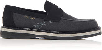 Maison Margiela Suede-Trimmed Printed Canvas Loafers