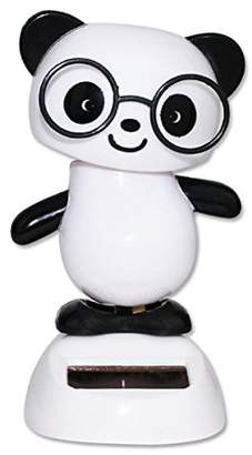 JuJu Smiling Dancing Panda with Black Glasses Solar Powered Toy Office Desk Home Decor Birthday Gift