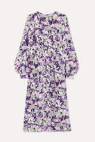 Marc Jacobs Runway Floral-print Crushed-velvet Midi Dress - Lilac