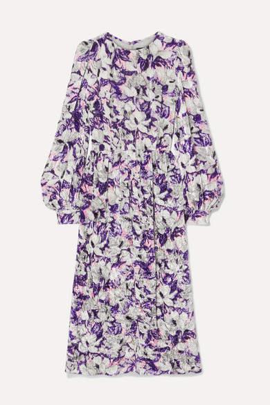 Marc Jacobs Runway Floral-print Crushed-velvet Midi Dress - Lilac