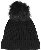 Black tonal pom beanie hat