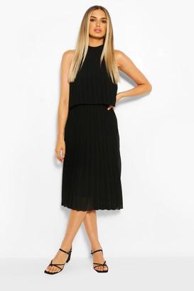 boohoo Occasion Pleated Double Layer Midi Dress