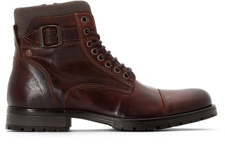 Jack and Jones Jfwalbany Leather Lace-Up Ankle Boots