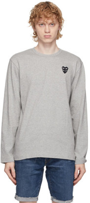 Comme des Garcons Grey Double Heart Long Sleeve T-Shirt