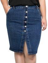 MSSHE Women's Button Front Denim Skirt Plus Size Wash Denim Mini Skirt