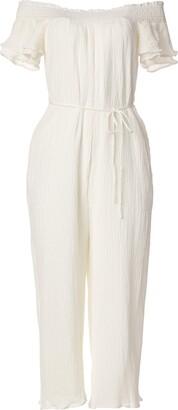 ASTR the Label Women's Off-The-Shoulder Tie Waist Wide Leg Maura Jumpsuit