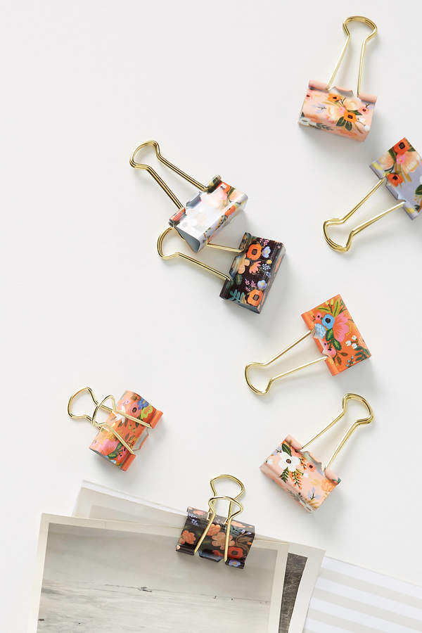 Rifle Paper Co. Posies Binder Clips, Set of 8 By in Purple Size ALL