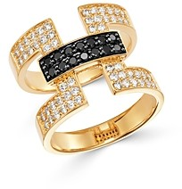 Bloomingdale's Black & White Diamond Deco Ring in 14K Yellow Gold - 100% Exclusive