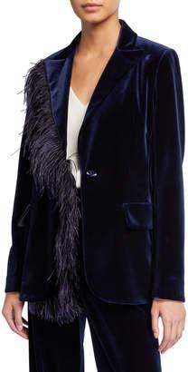 Rickie Freeman For Teri Jon Feather Trimmed Velvet Blazer