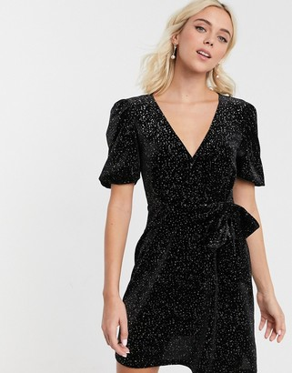 Asos Design DESIGN glitter velvet mini tea dress-Black