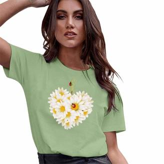 CUTUDE Women Loose T Shirts Short Sleeve Summer Tee Ladies Blouse Leisure Print Vest Tops Fashion (Green M)