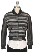 RON HERMAN Leather Sleeve Blanket Baseball Jacket