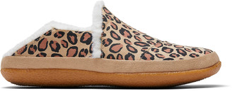 Toms Desert Tan Leopard Print Microsuede Women's India Slippers