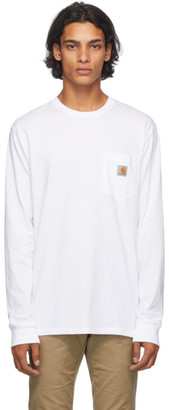 Carhartt Work In Progress White Pocket Long Sleeve T-Shirt