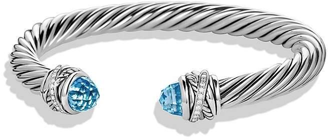 David Yurman Crossover Bracelet with Diamonds and Blue Topaz in Silver